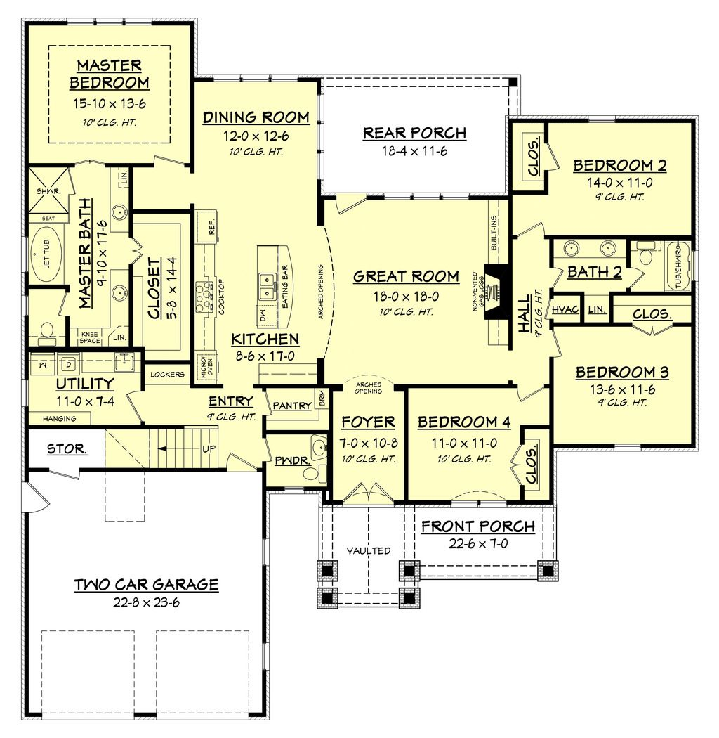 Country Style House Plan 4 Beds 2 5 Baths 2329 Sq Ft Plan 430 151 House Plans Floor Plans Country Style House Plans