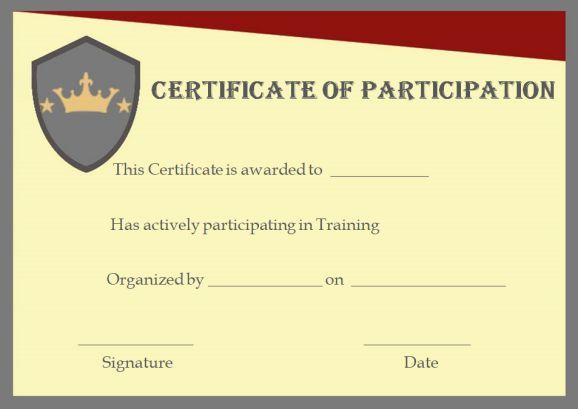 Training Participation Certificate Formats training participation