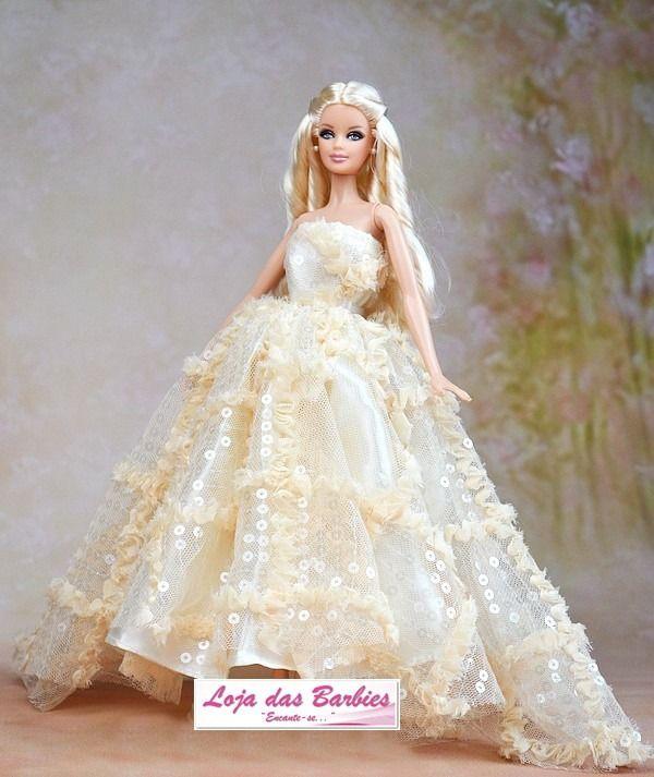 Vestido De Noiva Luxo Para Boneca Barbie * Modelo Hollywood - R$ 29,90 no MercadoLivre