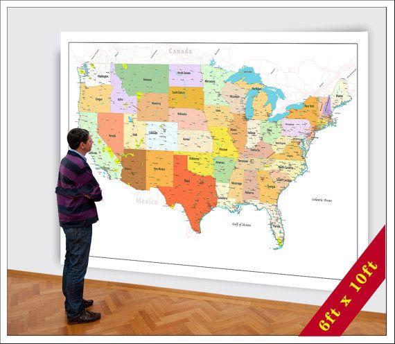 Big Map of the USA. 5x8 or 6xft x 10ft map. Large USA Map ...