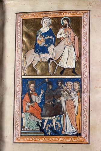 Royal 1 D X f.3 Flight into Egypt and the Massacre of the Innocents. 1200-1220. Knights