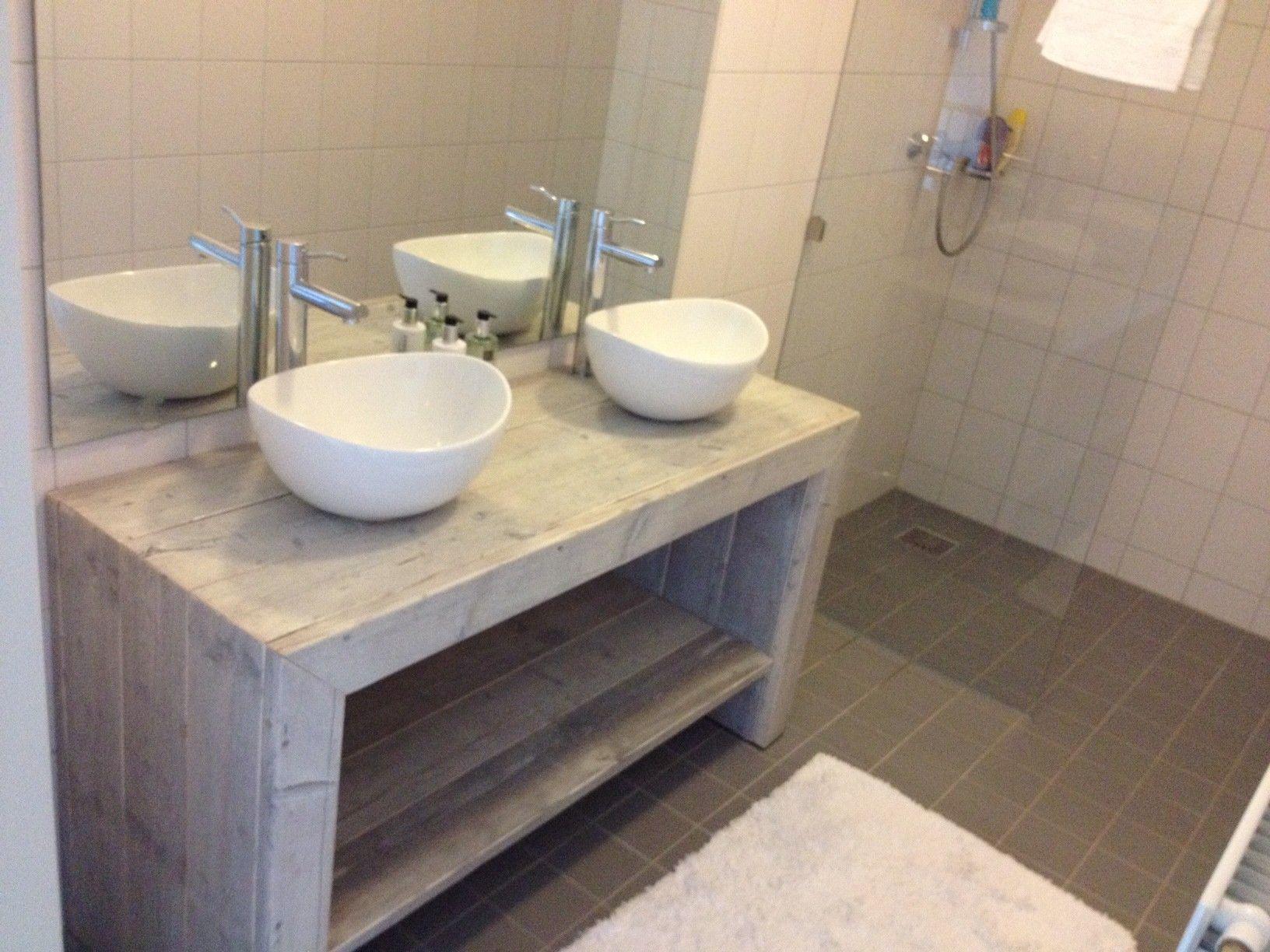 badkamermeubel van steigerhout - model heusden - houten kast, Deco ideeën