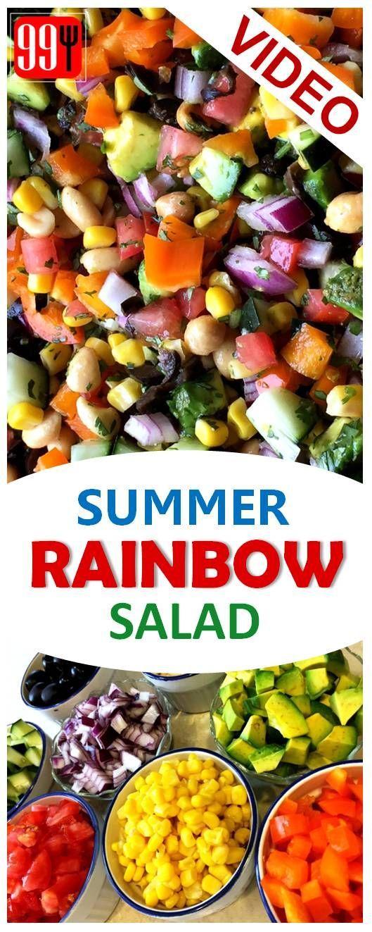 Summer Rainbow Salad, mix of fresh veggies & a yogurt cilantro vinaigrette, rainbow salad recipe, summer salad recipes, rainbow salad vegan, rainbow salad mix, rainbow salad in a jar