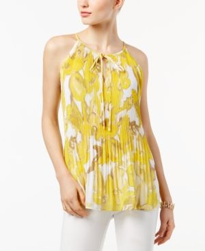 Inc International Concepts Pleated Halter Top, Only at Macy's - Yellow XXL
