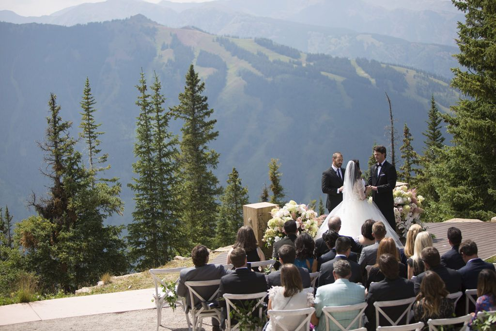 Aspen Colorado Wedding Deck Mountain Outdoor Ceremony Photos Bride And Groom