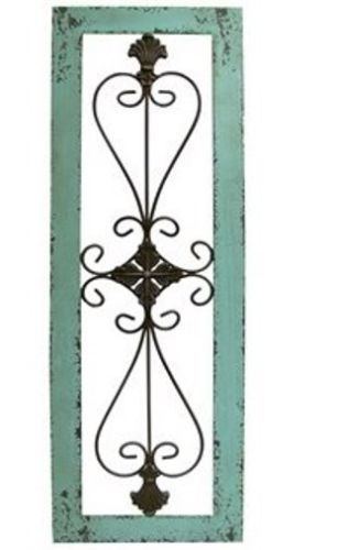 Large Turquoise Framed Metal Wall Decor Art Metal Scroll Wooden Frame Metal Wall Decor Wrought Iron Wall Decor Turquoise Frame