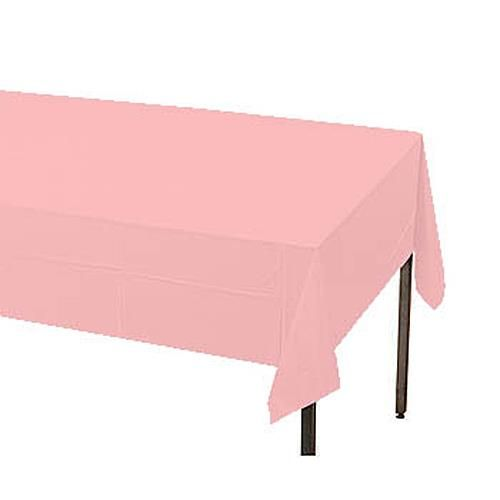 Classic Pink Plastic Table Cover