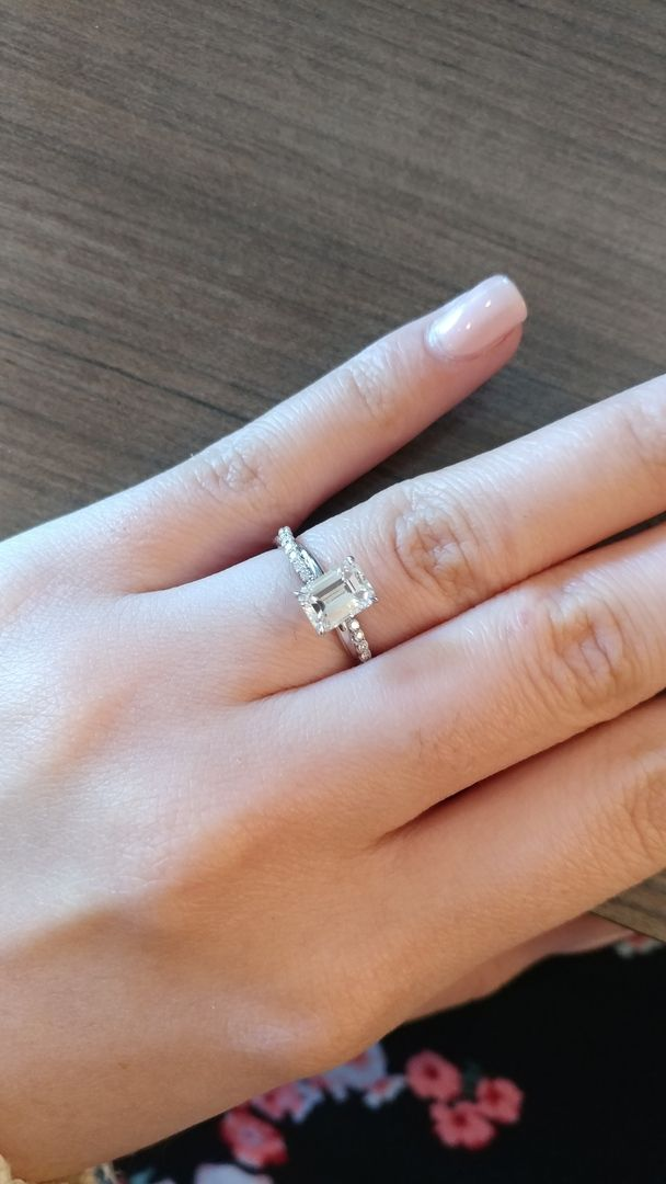 a71bde6ab2442 14K White Gold Pavé Twisted Rope Engagement Ring with Emerald Cut ...