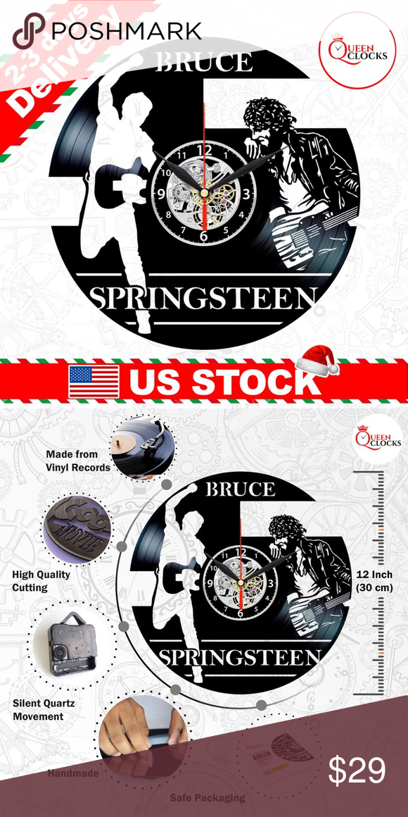 Bruce Springsteen Vinyl Clock Born To Run Gifts Usa Stock Fast And Free Sh Bruce Springsteen Vinyl Clock B In 2020 Vinyl Record Clock Gift Boutique Decor Gifts