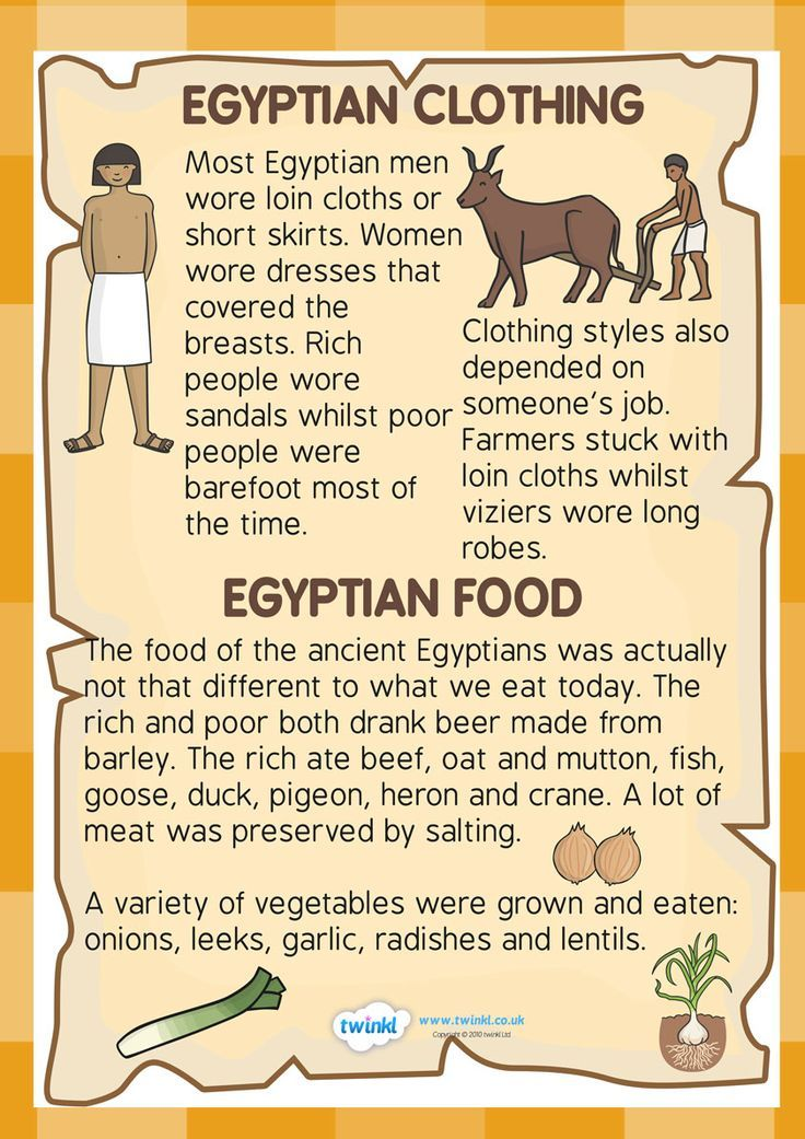 Primary homework help egyptian clothes