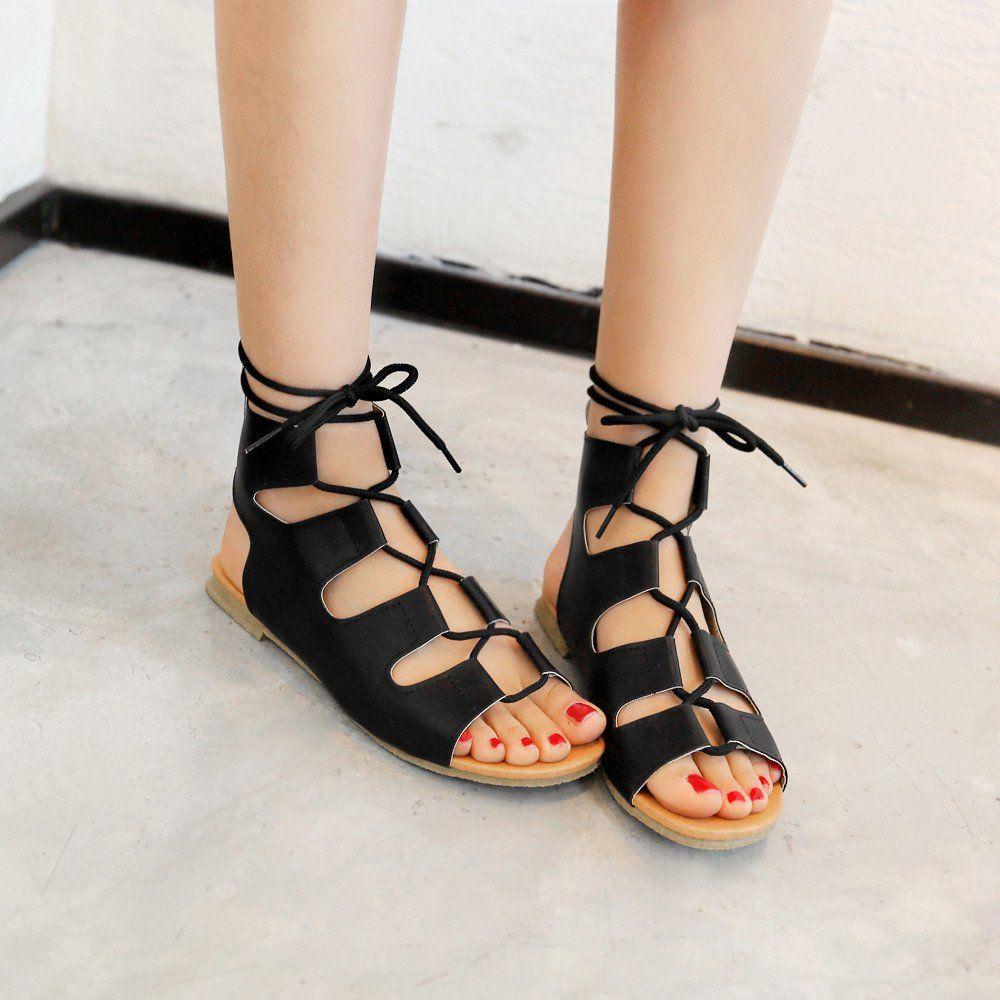Lace Up Women Flats Sandals Shoes Woman