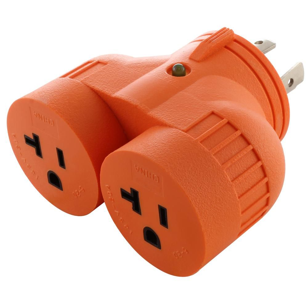 Ac Works V Duo Adapter L14 30p 30 Amp 4 Prong Locking Plug To 2 15 Amp 20 Amp Household Outlets Orange Plugs Dryer Plug Household