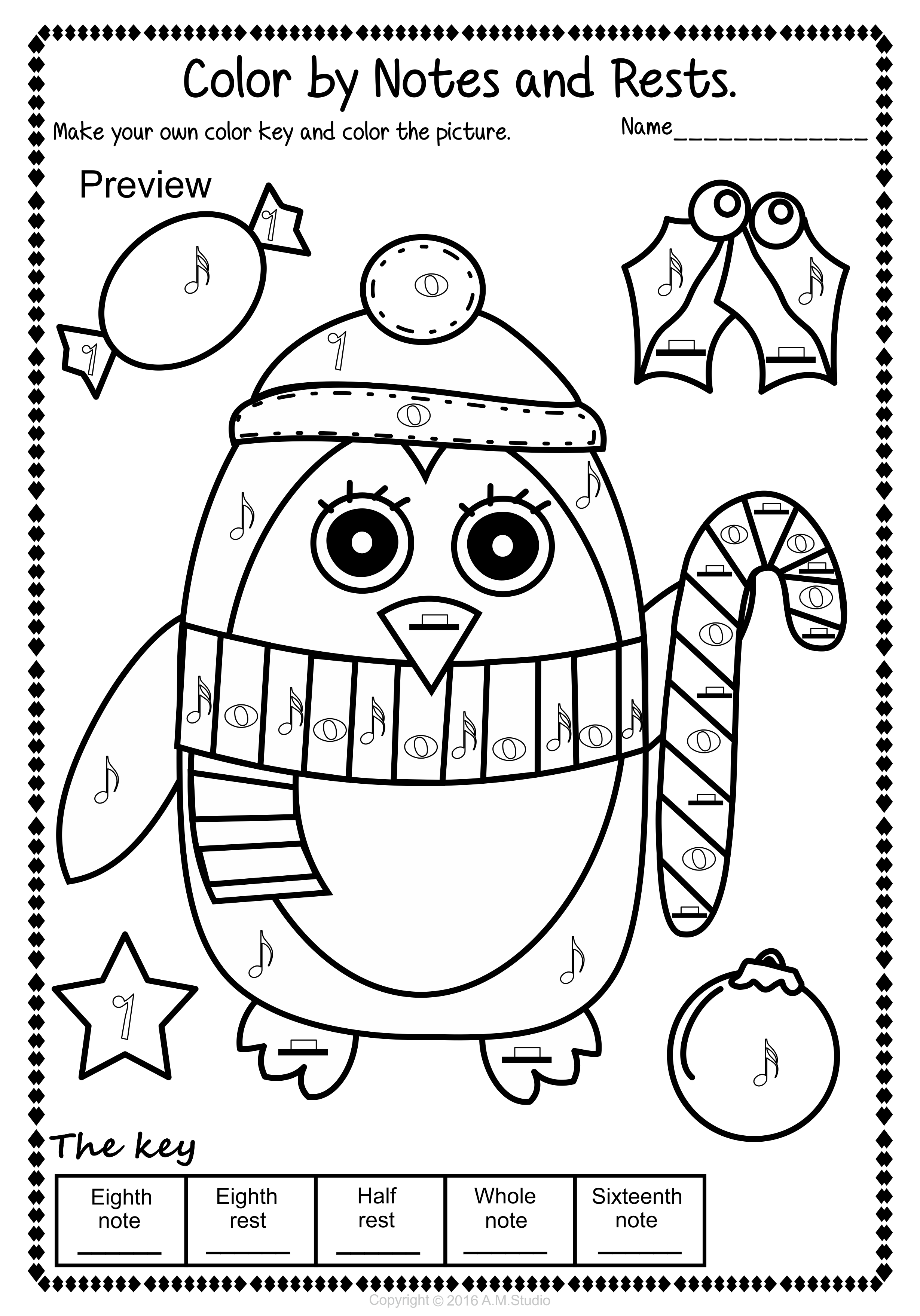 christmas color by music pack - Christmas Coloring Activities