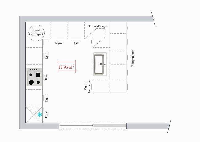 cuisine de 36 m x 36 m amnage en u dans cette grande - Plans Cuisine