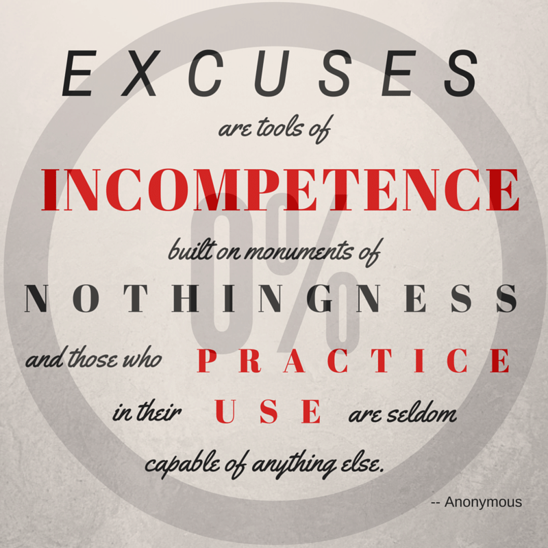 Excuses Are Tools Of Incompetence Built On Monuments Of Nothingness