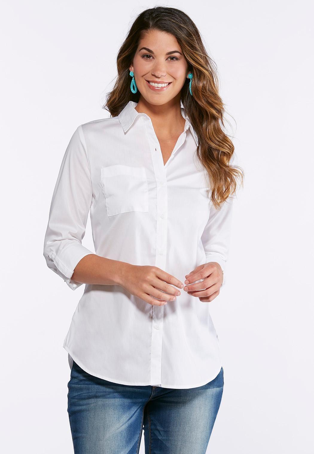 170fd171f55 Plus Size Classic White Button Down Shirt Tops Cato Fashions