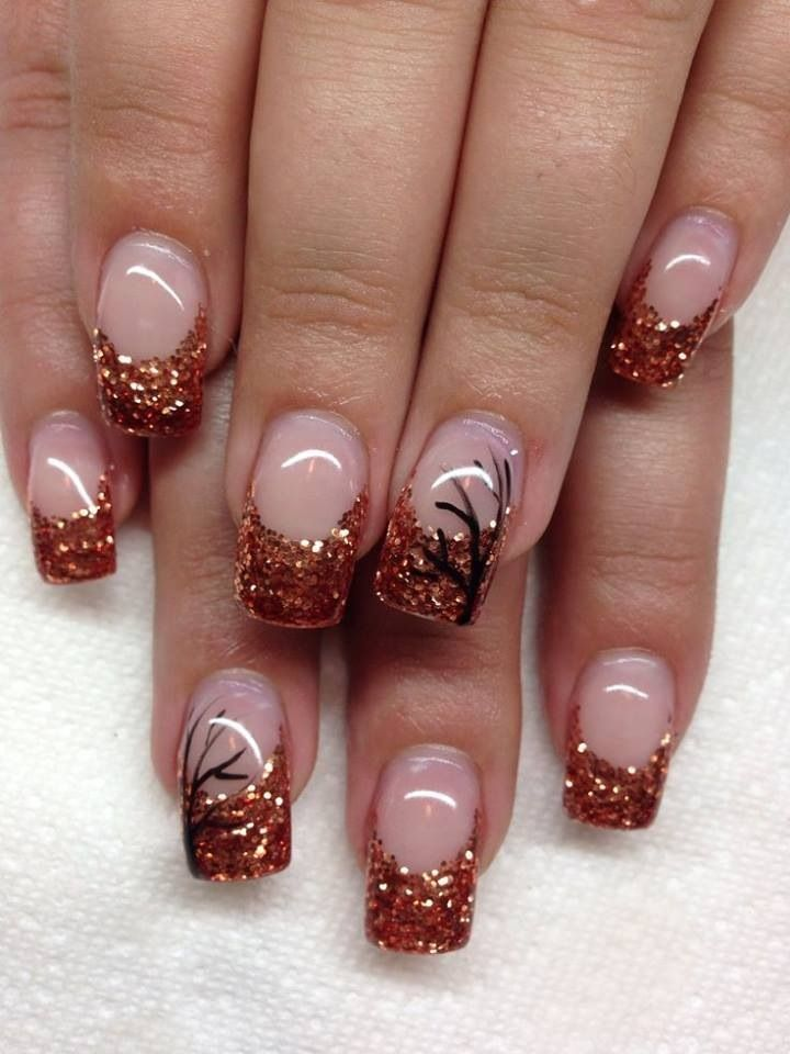 French Tip Manicure Autumn Pinned By Hooria Shafai Fall Gel Nails Gel Nail Art Designs Fall Nail Art Designs