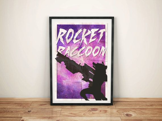 Rocket Raccoon Print by GreyFoxDesign on Etsy