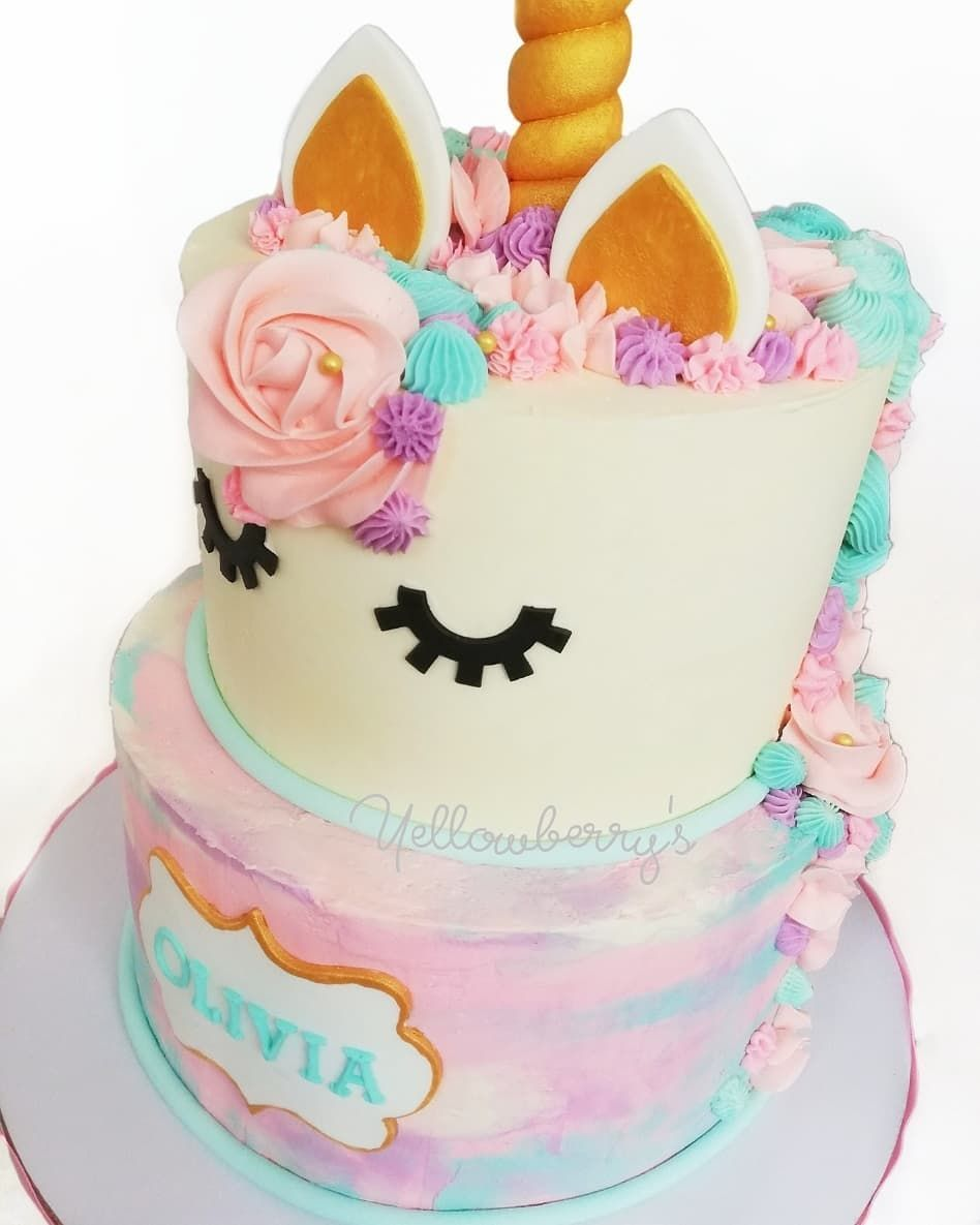 2tier Unicorn Buttercream Cake. . . … HairStyles and