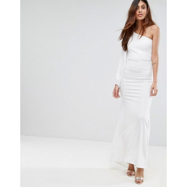 TFNC Off Shoulder Fishtail Maxi Dress With One Shoulder Blouson Sleeve (€60) ❤ liked on Polyvore featuring dresses, wedding dresses, white, body con dress, white body con dress, white off shoulder dress, tall maxi dresses and bodycon dresses