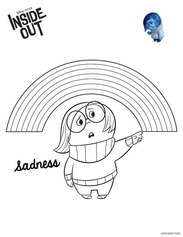 Disney Pixar Kleurplaten.Kleurplaat Binnenstebuiten Insideout Inside Out Sadness