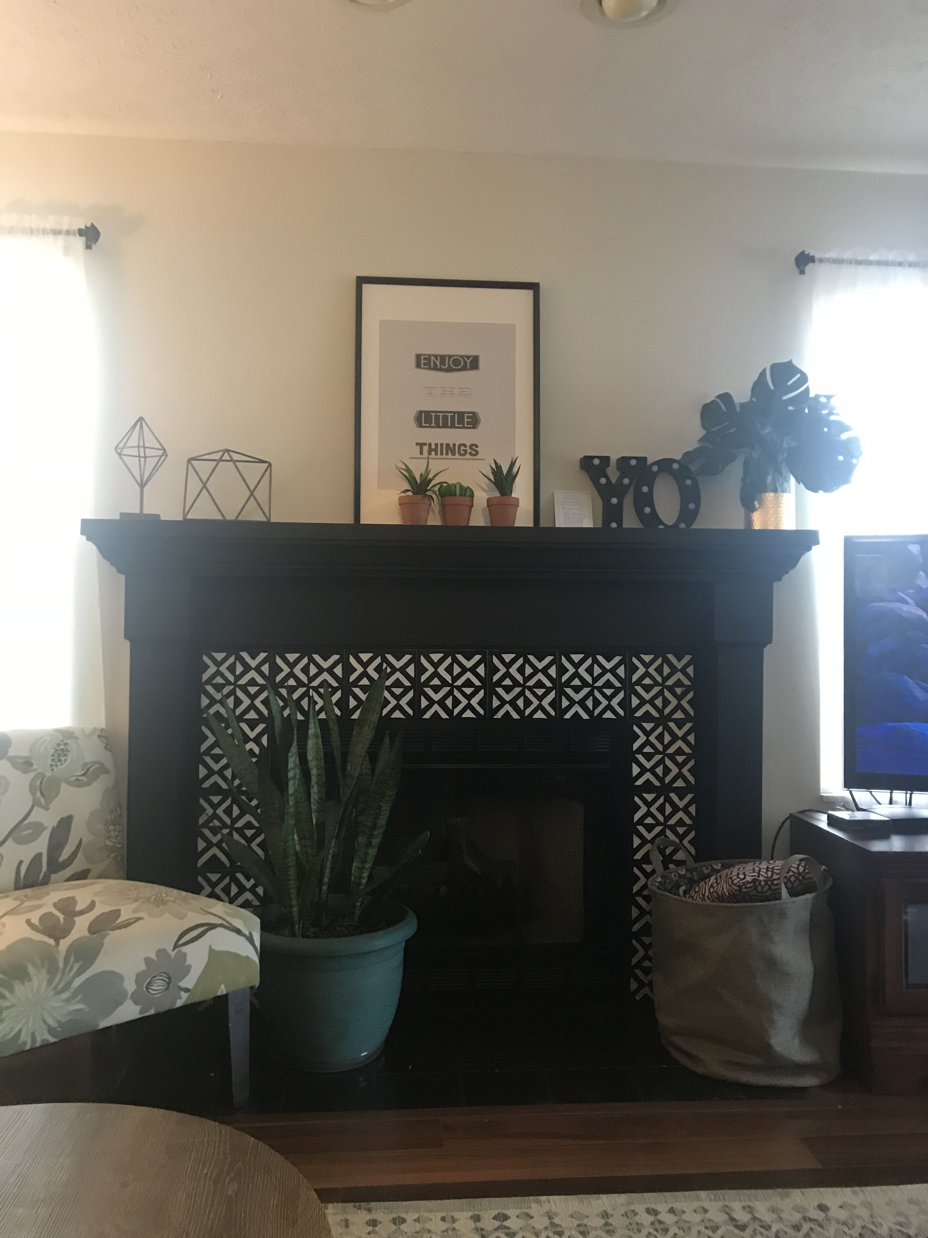 Black Fireplace Mantle Diy Painted Tile Surround Black