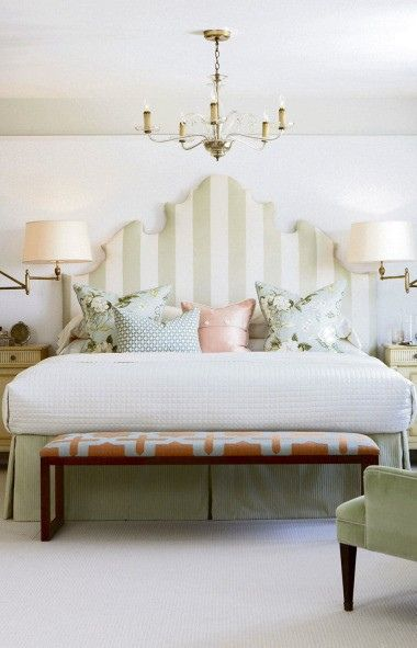 Ornate Striped Upholstered Headboard Swing Arm Lamps