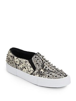 e9f3c756850 Studded Snake-Print Faux Leather Slip-On Sneakers