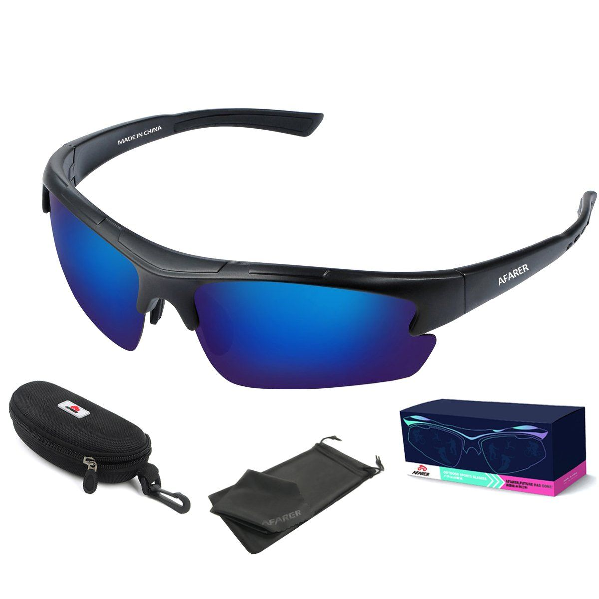 AFARER polarized sports sunglasses for mens womens fishing