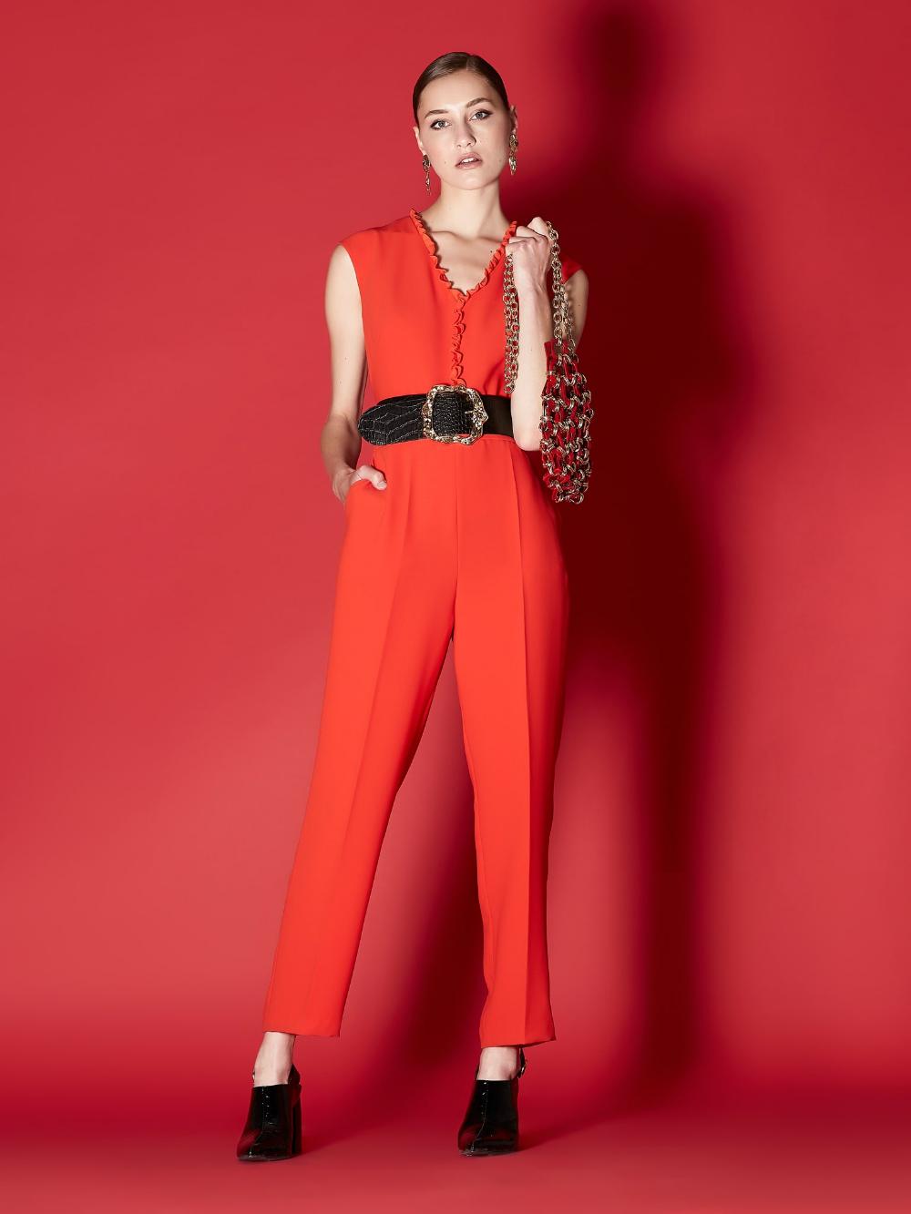 Kirmizi Firfir Yaka Seritli Tulum Iw6190014019034 Ipekyol Moda Stilleri Elbise Modelleri Mankenler