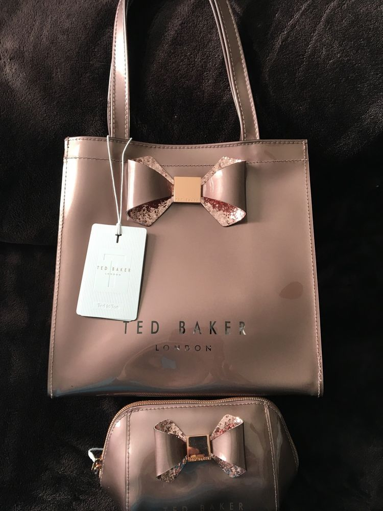 Ted Baker London Small Metallic Bow Ikon Tote Bag Pink Matching Makeup Ebay