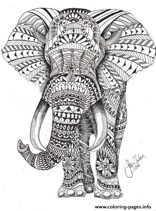 Print elephant for adults color hard difficult coloring pages | Free ...