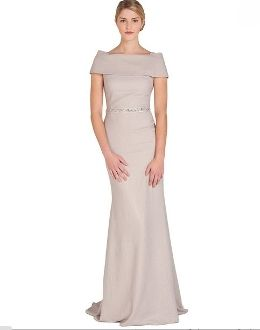 Badgley Mischka Taupe Off The Shoulder Evening Gown Eg1491 New