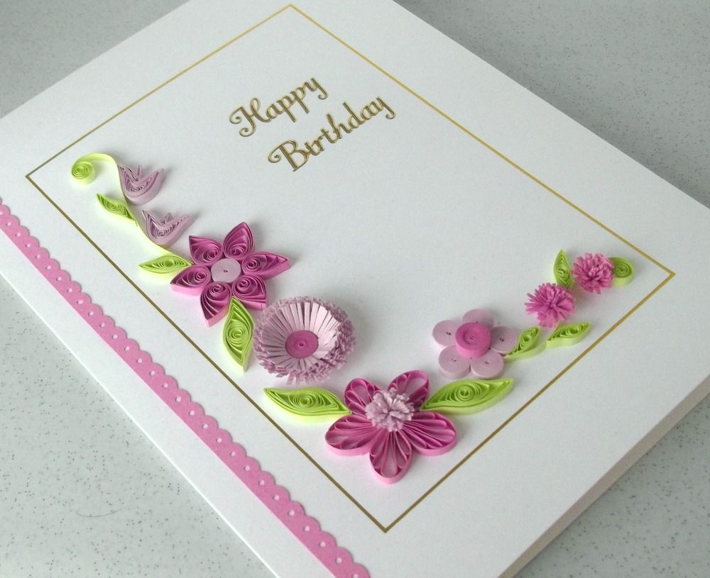 A Paper Quilling Birthday Card With Quilled Gerbera Daisies Personalized Any Age And Name For Occasion Description From Etsy