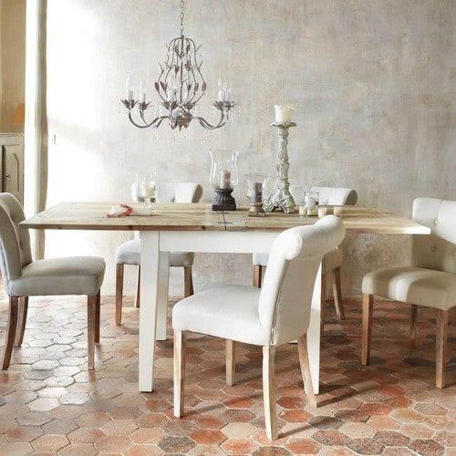 Finitura di colore bianco, aspetto usurato. Table A Manger Extensible 4 8 Personnes L90 180 Maisons Du Monde 8 Seater Dining Table Square Kitchen Tables Dining Table