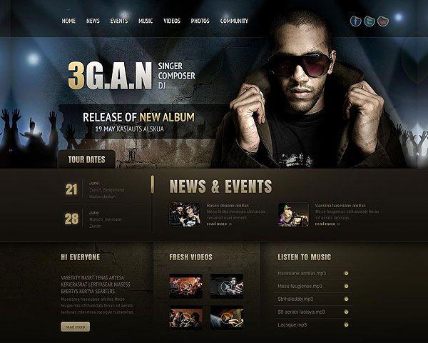 Singer Composer Dj Website Template | An inspiring selection of ...