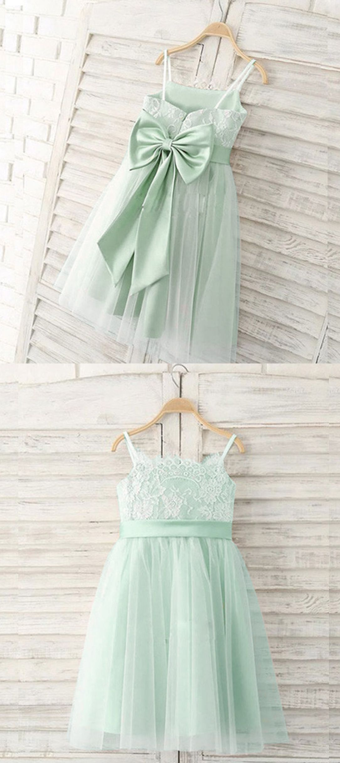 Lace Flower Girl Dress White Ivory Champagne Coral Mint