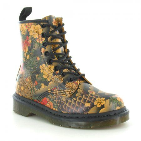 Dr Martens 1460 Unisex Japanese Tattoo Sleeve Print 8-Eyelet Leather Boots  - Tan