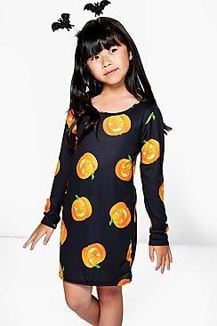 Girls Pumpkin Print Dress