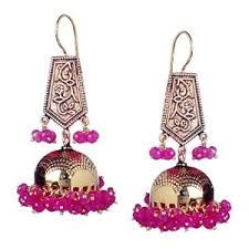 designer gold jhumkas round face - Google Search