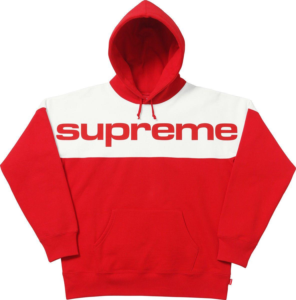851e74c79195 Top quality 2017 Unisex Supreme 17FW Blocked Hooded Sweatshirt cotton Big  letter