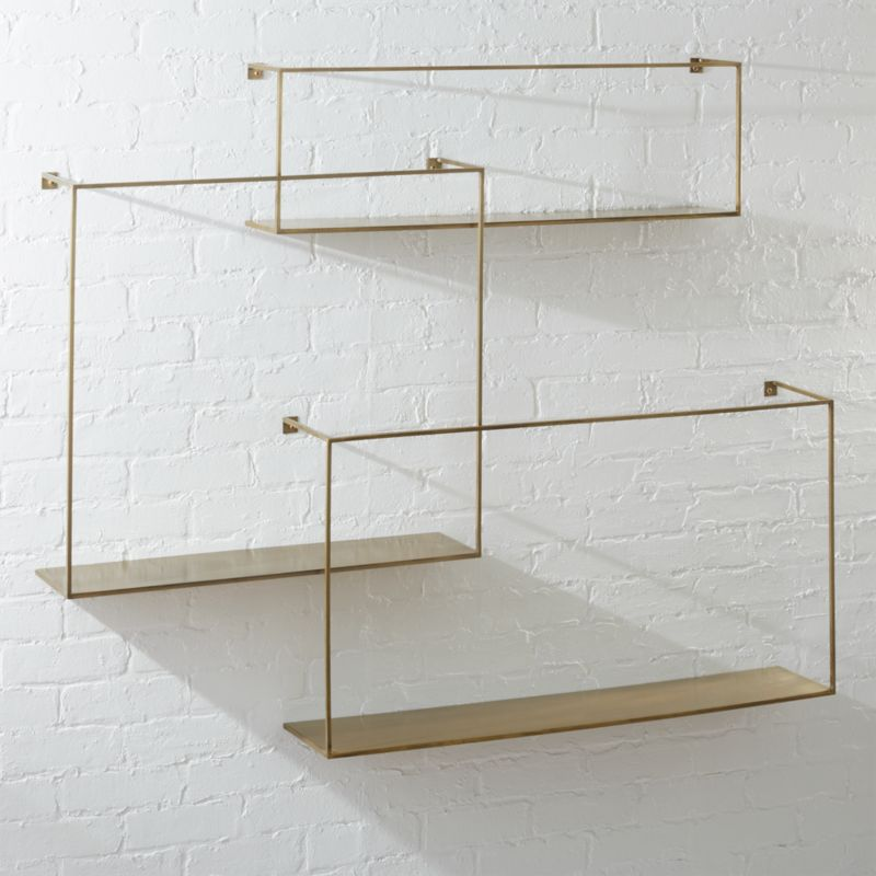 Antiqued Brass Large Floating Shelves Set of 3 #floatingshelves