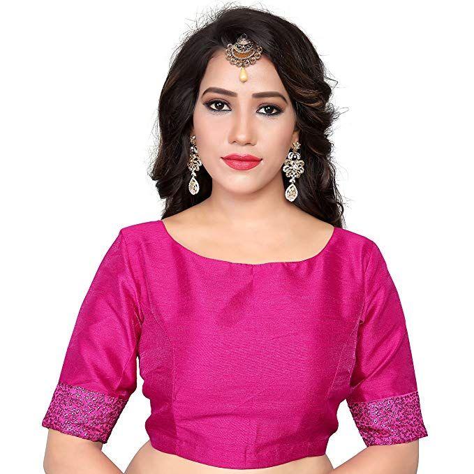 99960953731515 Women s Art Silk Boat Neck design Readymade Blouse Partywear Saree Choli  Mirchi Fashion Top