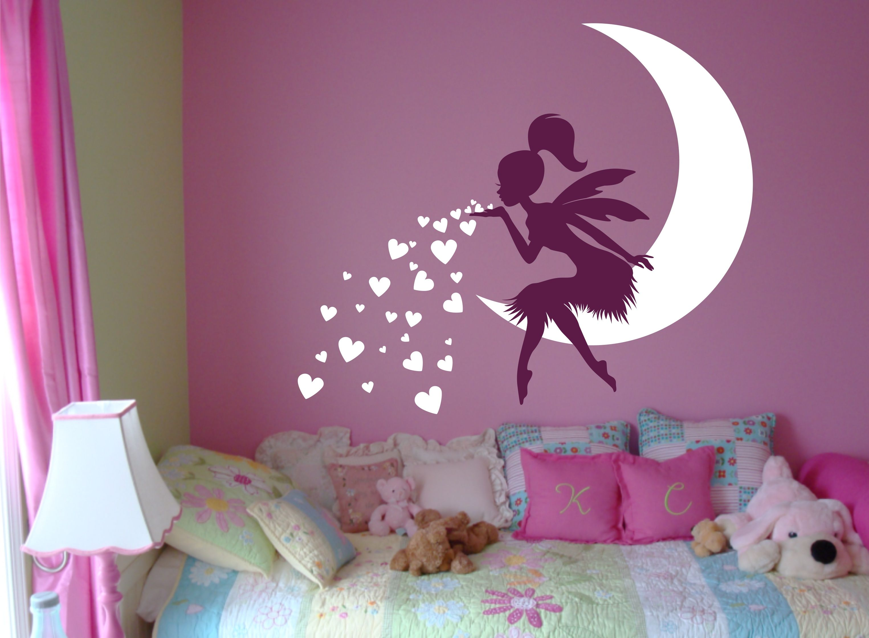 FAIRY Wall Decal Blowing Kisses With Hearts   Vinyl Fairy Wall Art For  Nursery From WallCrafters