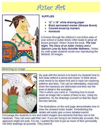 Art From Around The World Art Ideas For Kids Aztec Art