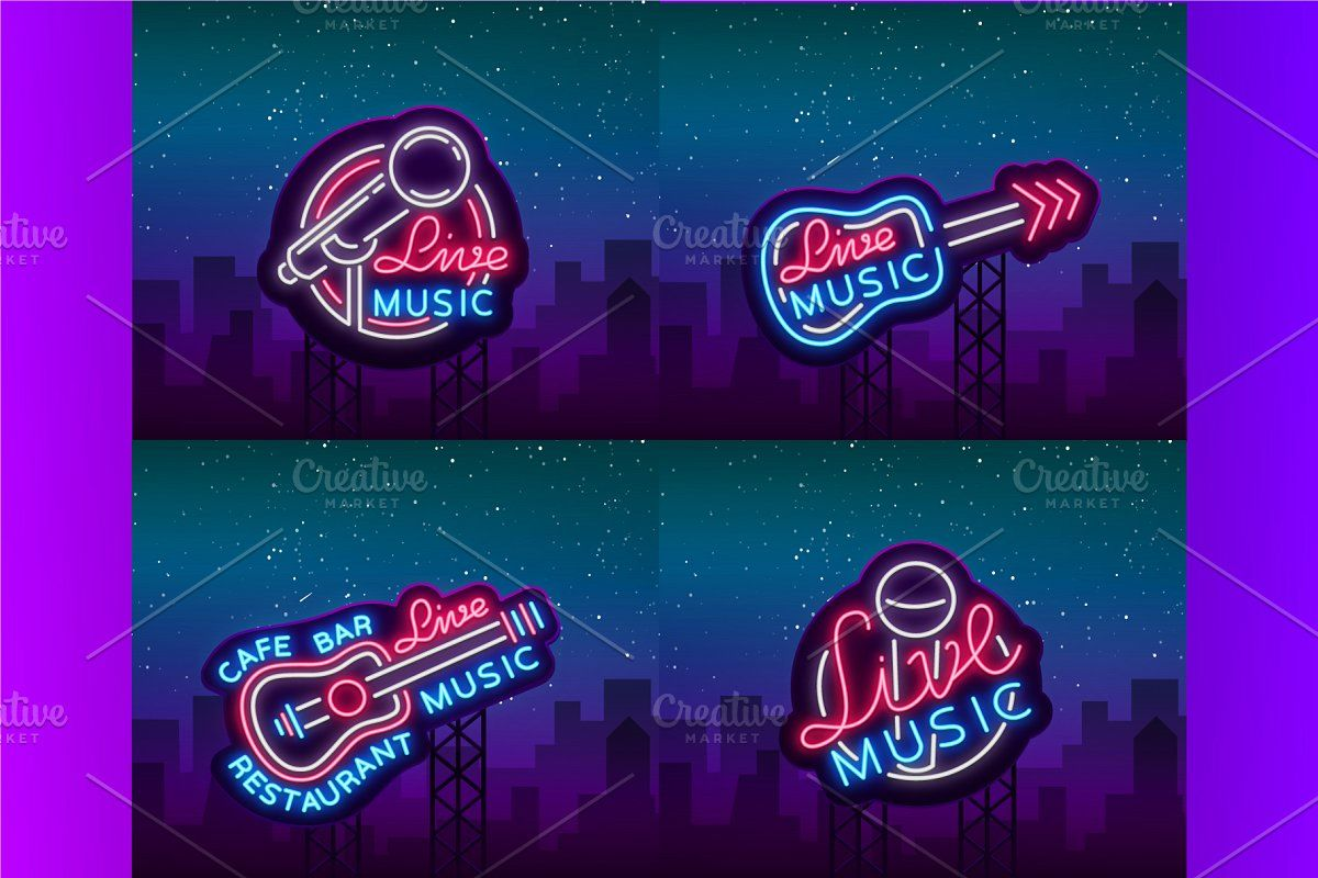 Live Music Neon Signs in 2020 Neon signs, Neon, Sign design