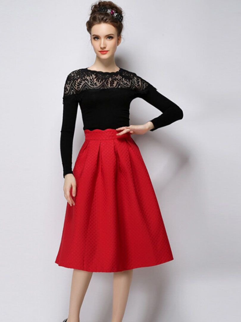 red a-line skirt outfit | Red Outfits | Pinterest | Red skirts ...