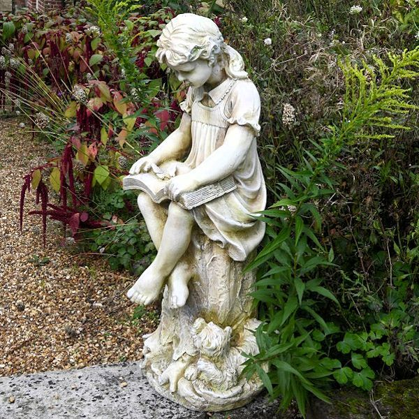 Girl With Book Garden Statue, Featuring A Weathered Antique Stone Effect  Finish