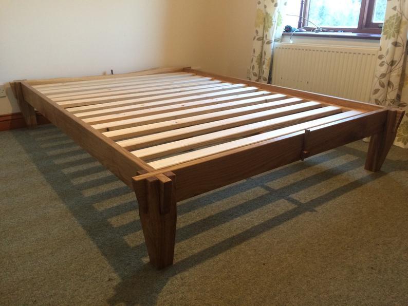Solid Oak platform Bed. Tatami Japanese joinery. Etsy