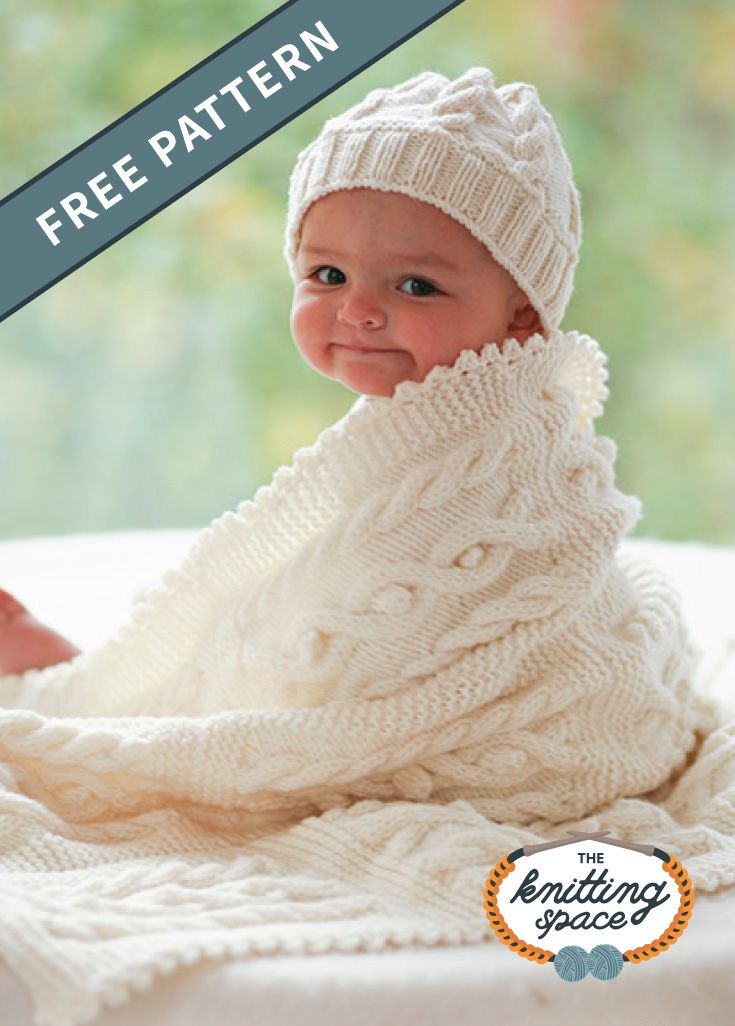 Knitted Cabled Baby Blanket And Hat [FREE Knitting Pattern]